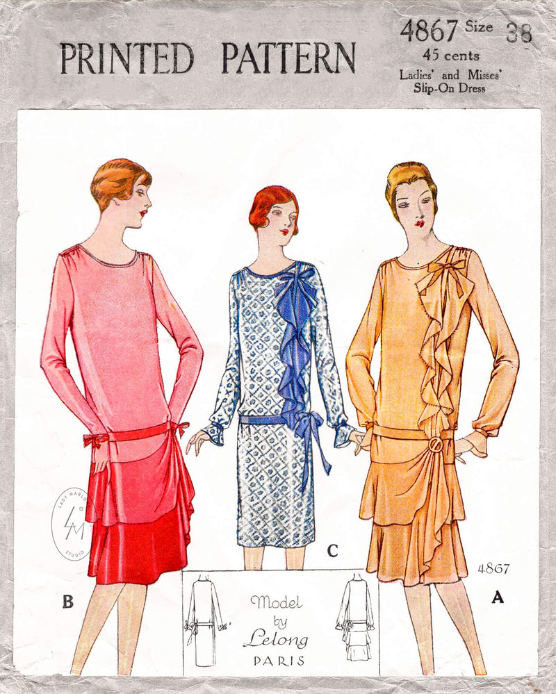 McCall 4867 1920s 1927 Lucien Lelong vintage sewing pattern dress