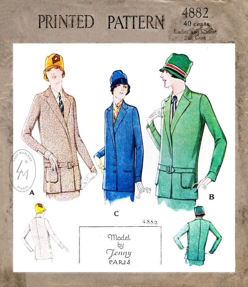 1920s 1927 McCall 4882 flapper era notched collar jacket vintage sewing pattern reproduction
