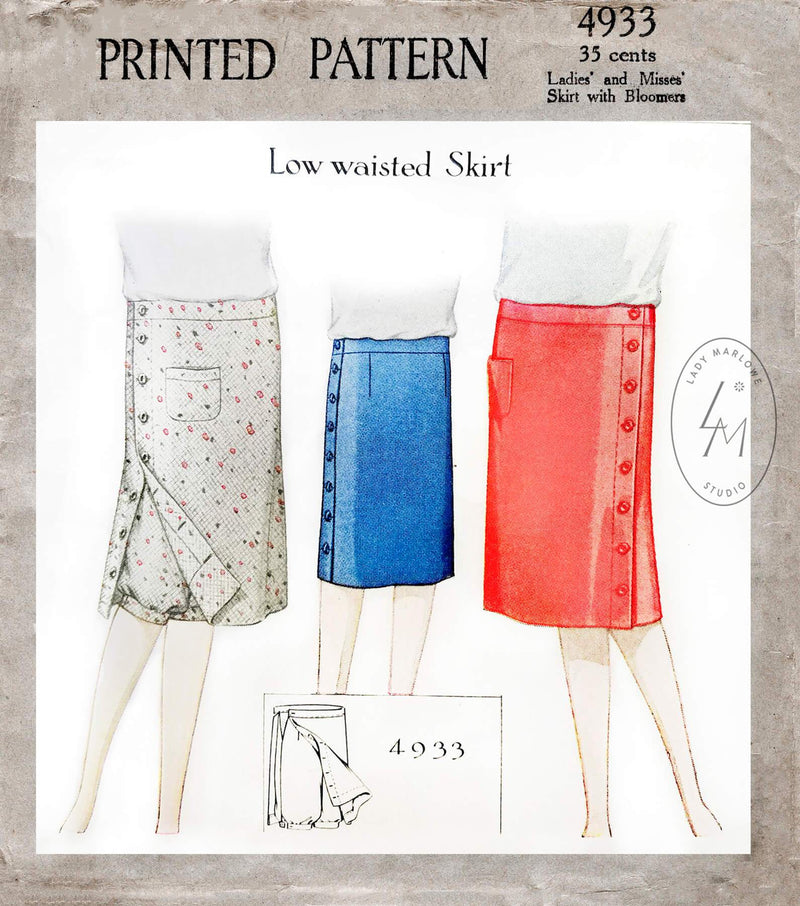 1920s 1927 McCall 4933 flapper skirt and under shorts or bloomers vintage sewing pattern reproduction