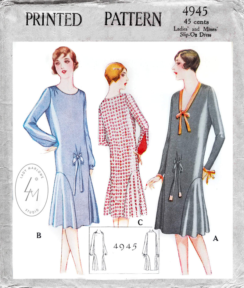 1920s 1927 McCall 4945 flapper era party dress drop waist flounce skirt shirring detail vintage sewing pattern reproduction