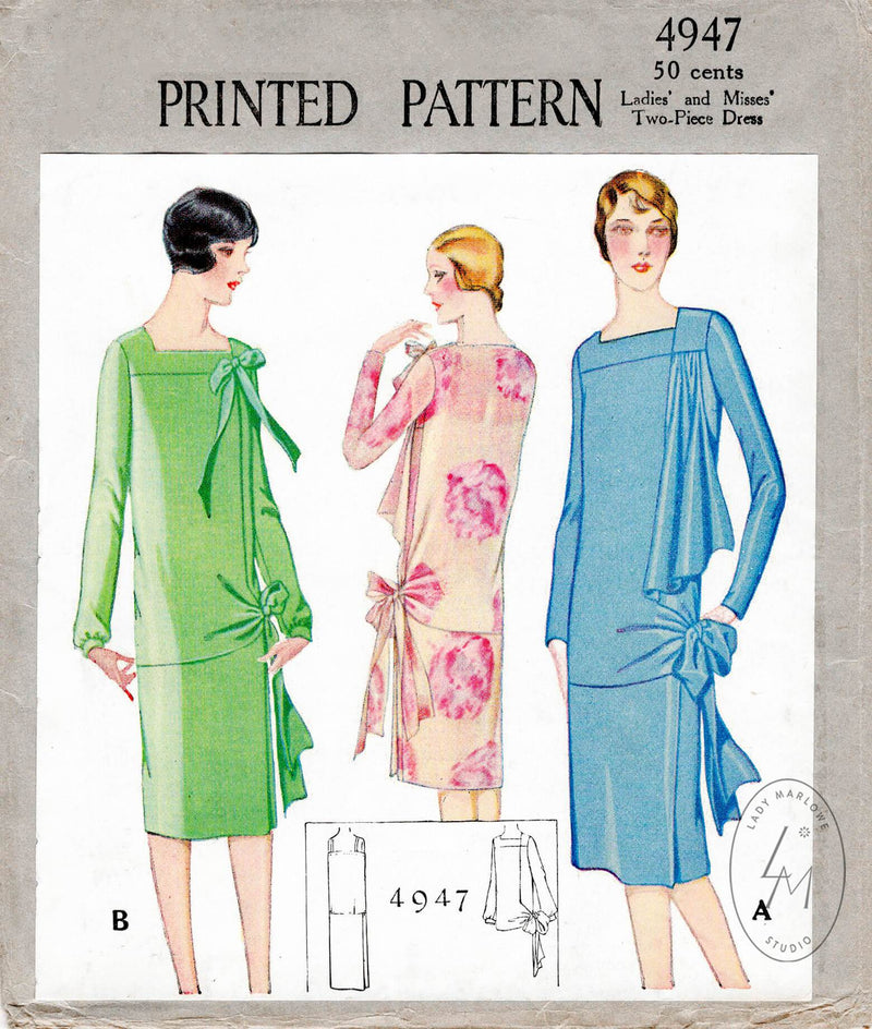 1920s 1927 McCall 4947 flapper era afternoon cocktail dress draped panel sash bow tie vintage sewing pattern reproduction