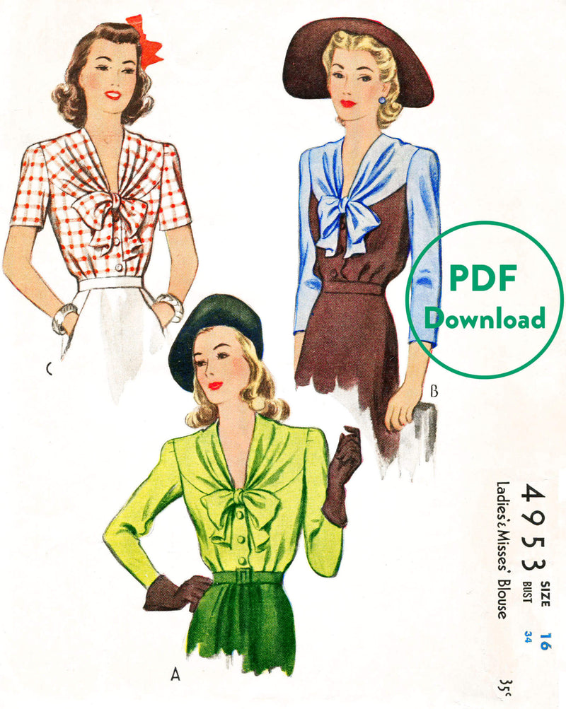 1940s McCall 4953 vintage sewing pattern women's blouse