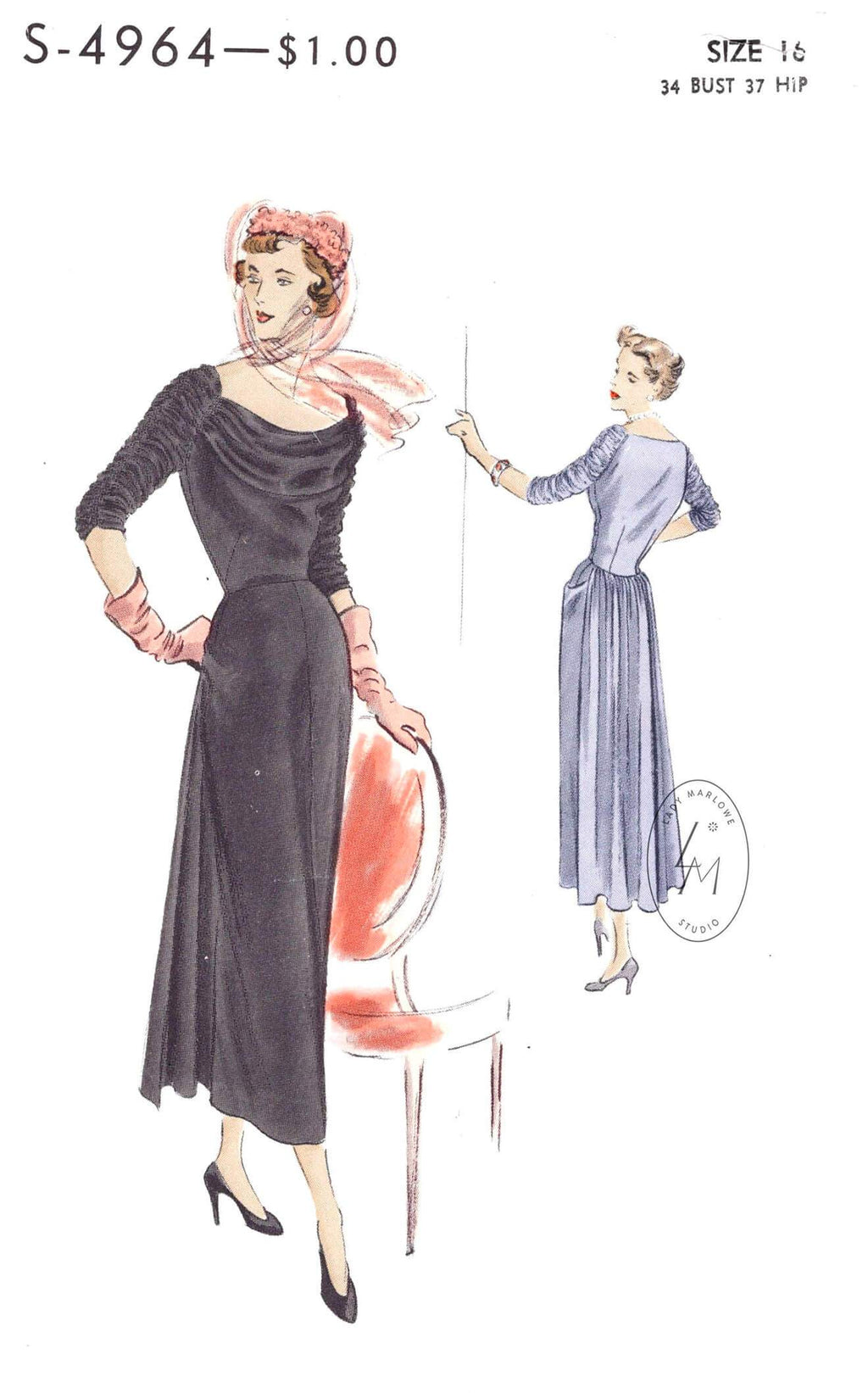 1940s 1950s Vogue S-4964 afternoon or cocktail dress wide draped neckline vintage sewing pattern repro