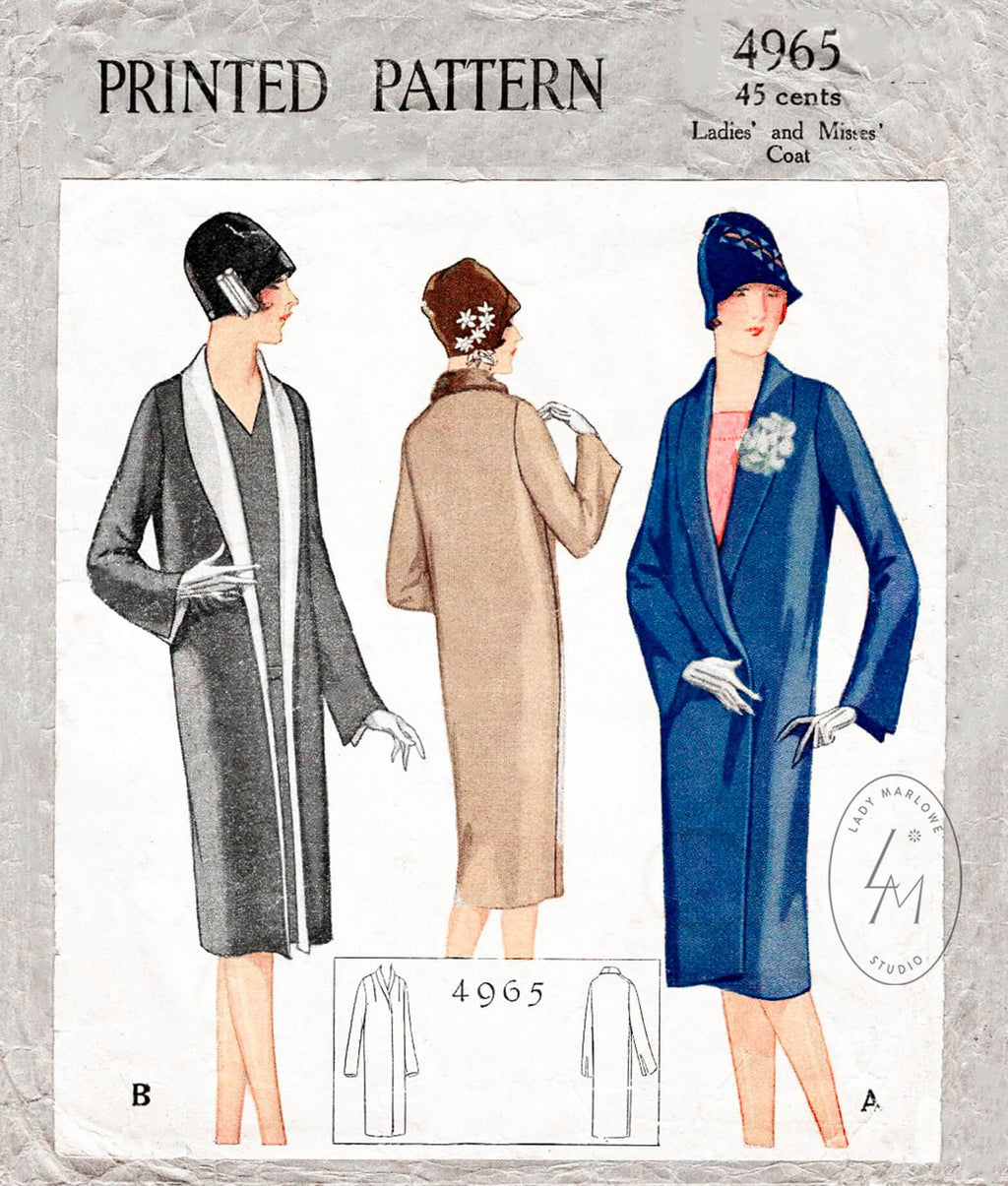 McCall 4965 1920s 1927 coat shawl collar vintage sewing pattern reproduction
