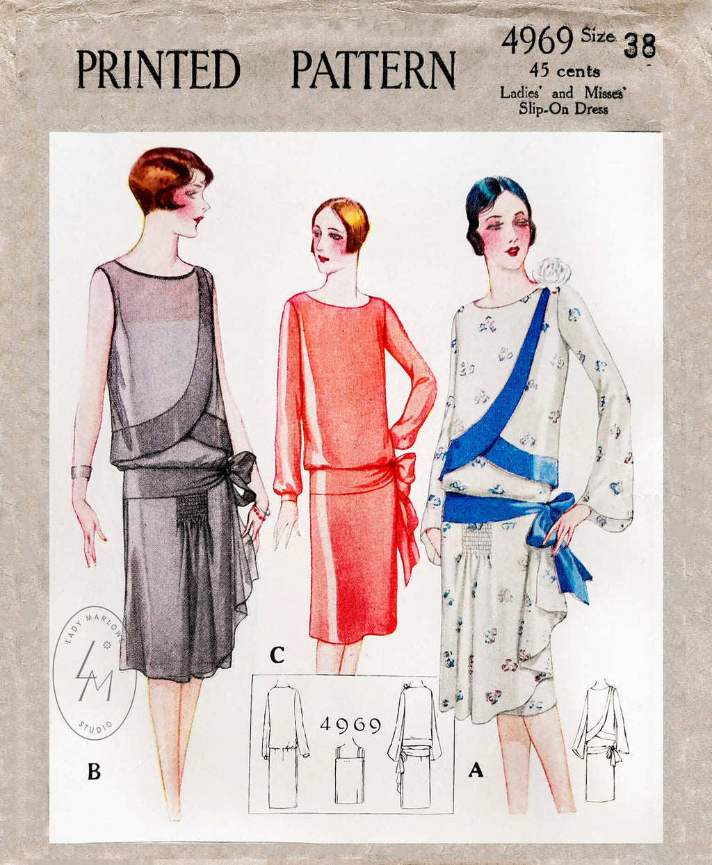 1920s flapper party dress vintage sewing pattern McCall 4969