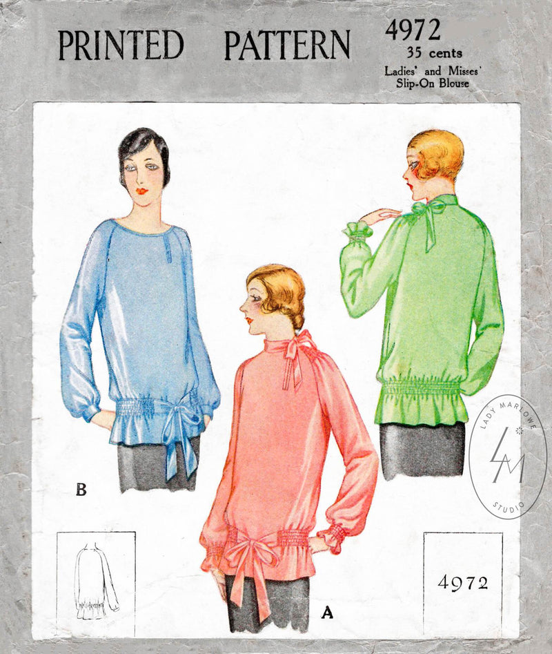 McCall 4972 1920s 1927 flapper era blouse drop waist shirring detail raglan sleeves vintage sewing pattern reproduction
