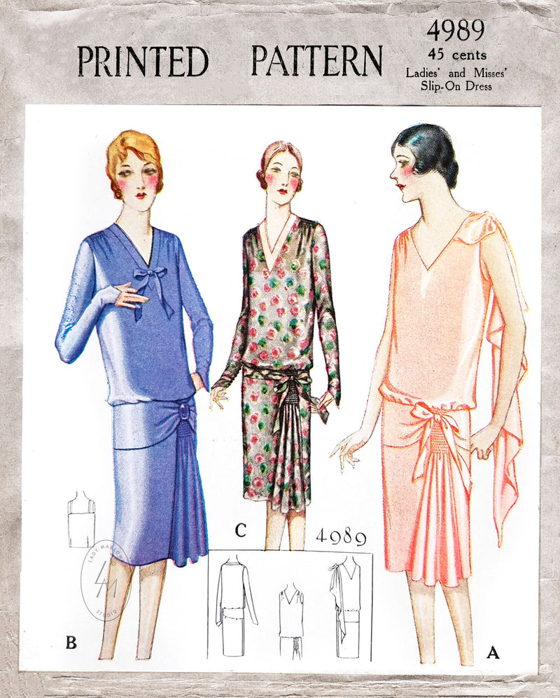 1920s sewing pattern McCall 4989 flapper dress