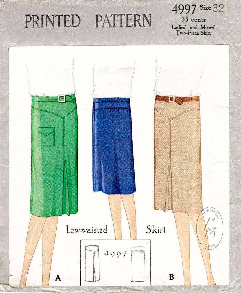 1920s flapper skirt vintage sewing pattern reproduction McCall 4997