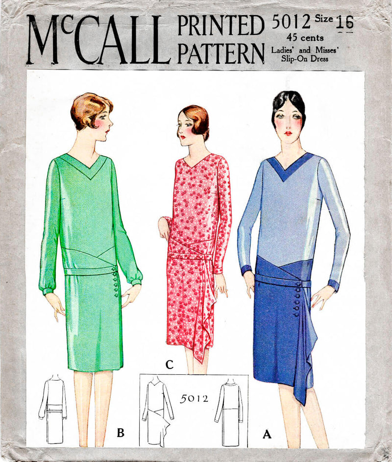 1920s 1927 McCall 5012 drop waist art deco dress vintage sewing pattern reproduction