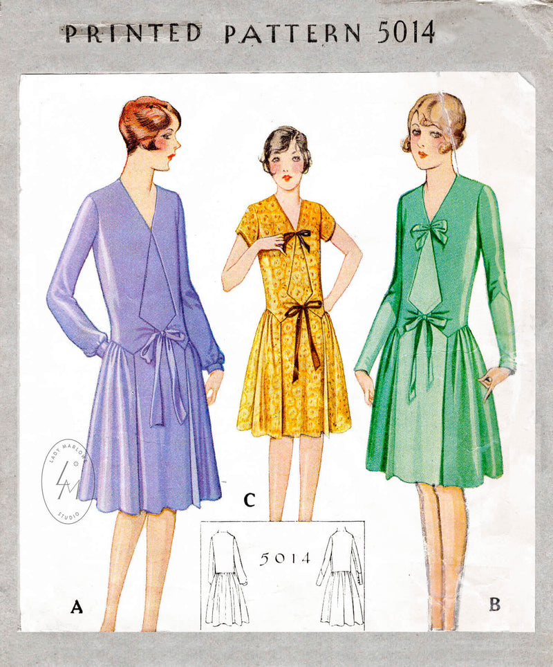 McCall 5014 vintage sewing pattern dress flapper style 1920s 1927