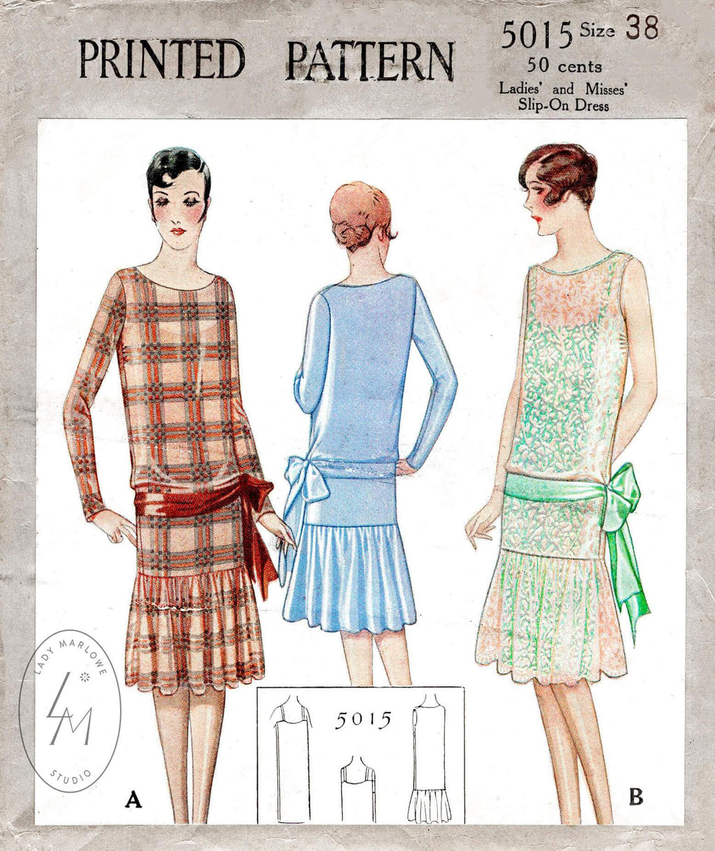 McCall 5015 1920s 1927 flapper dress drop waist sash bow ribbon tie vintage sewing pattern repro
