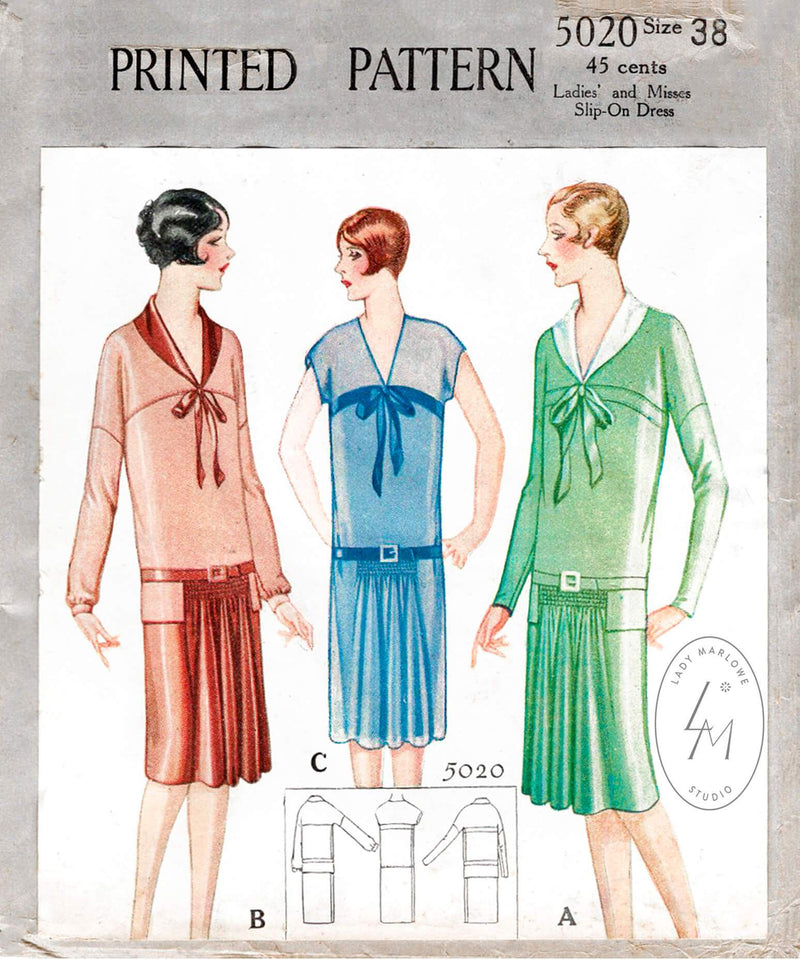 1920s McCall 5020 drop waist flapper dress vintage sewing pattern French & English reproduction