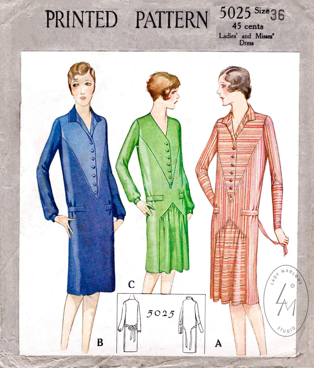 McCall 5025 1920s 1927 slip on dress vintage sewing pattern reproduction