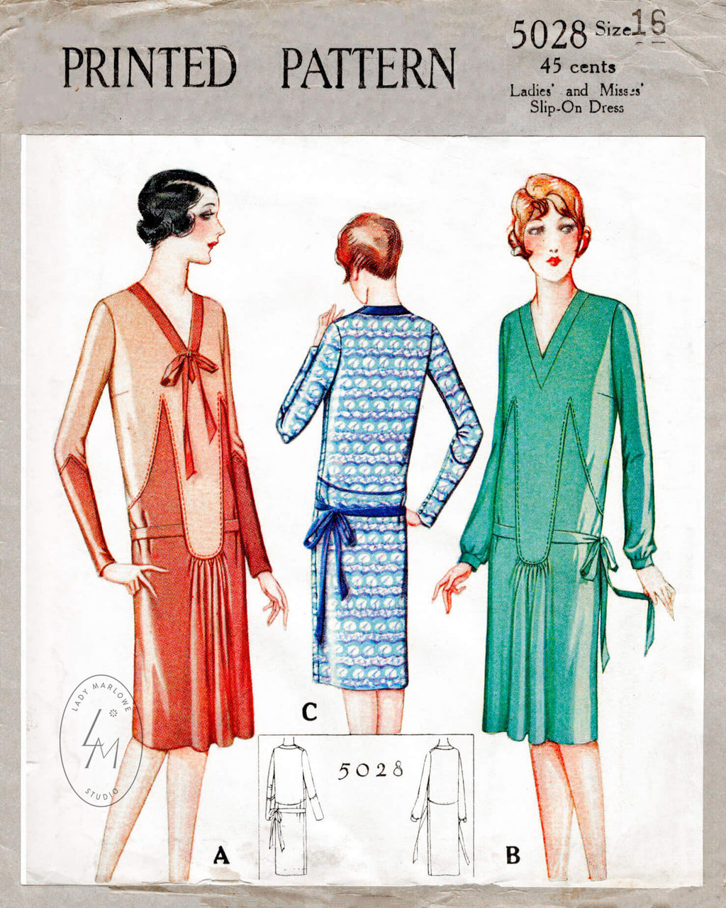 McCall 5028 1920s 1927 flapper dress vintage sewing pattern reproduction
