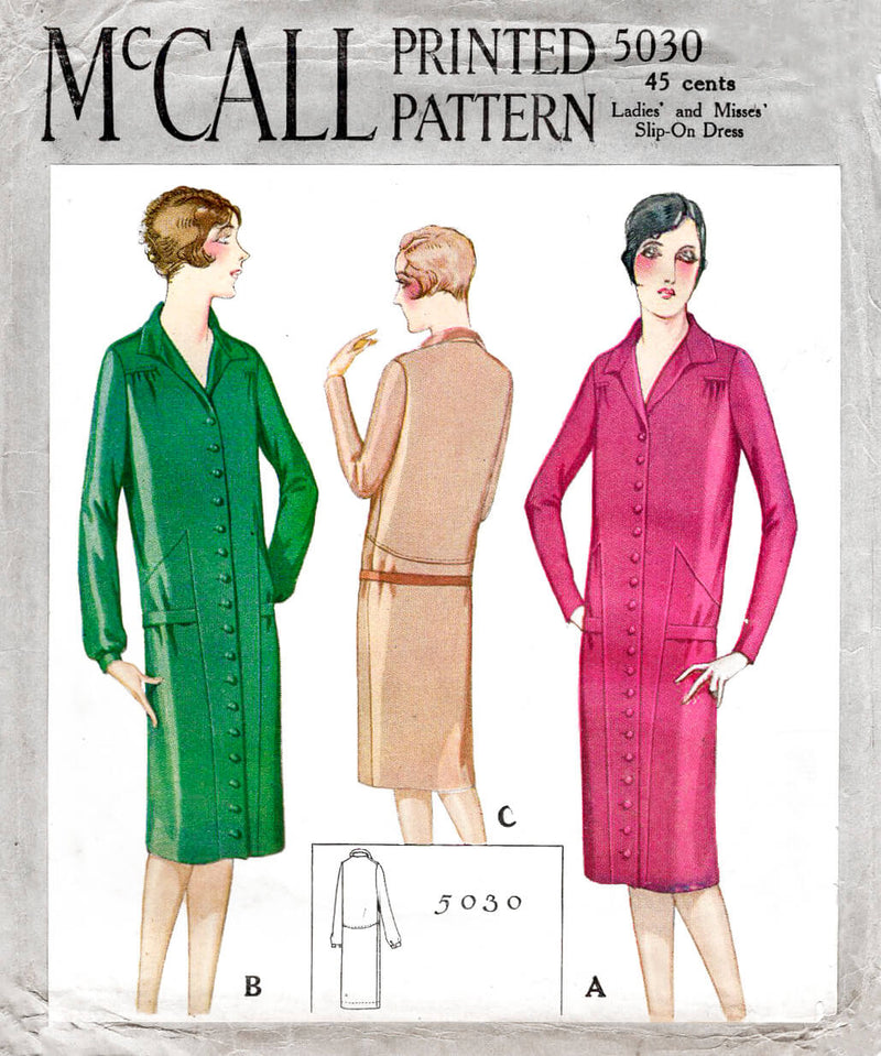 1920s 1927 McCall 5030 drop waist dress button down shirt dress pointed collar vintage sewing pattern reproduction