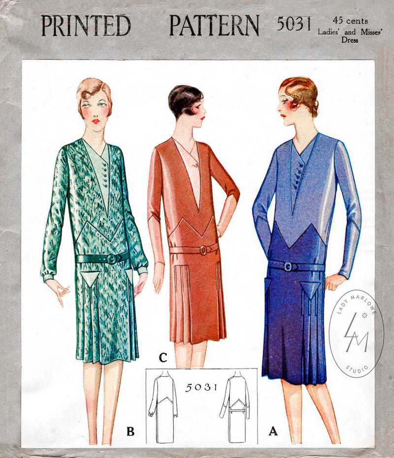 1920s 1927 McCall 5031 flapper era dress zig zag seam drop waist style vintage sewing pattern reproduction