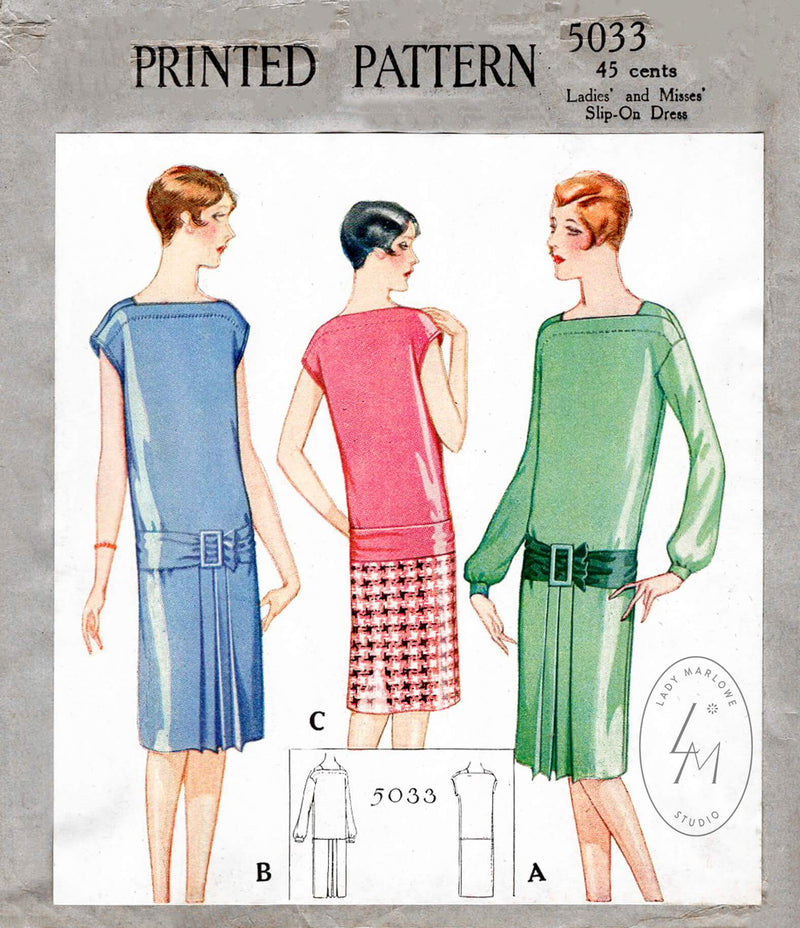 1920s 1927 McCall 5033 vintage sewing pattern drop waist slip on dress bateau neckline French & English reproduction