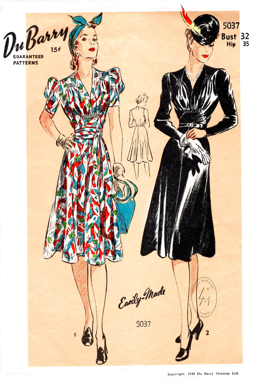 DuBarry 5037 vintage sewing pattern 1940s day or afternoon dress shirring detail repro