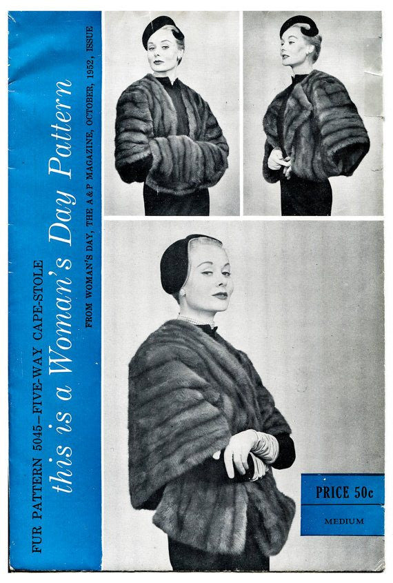 Woman's Day 5045 fur cape or stole vintage sewing pattern