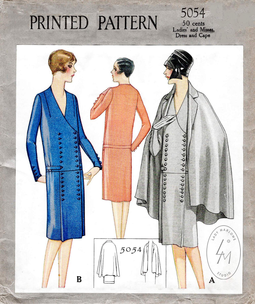 1920s 1927 McCall 5054 drop waist dress & cape vintage sewing pattern reproduction