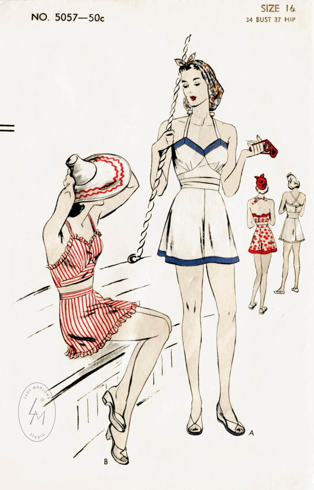 Vogue 5057 1940s high waist bathing suit vintage sewing pattern