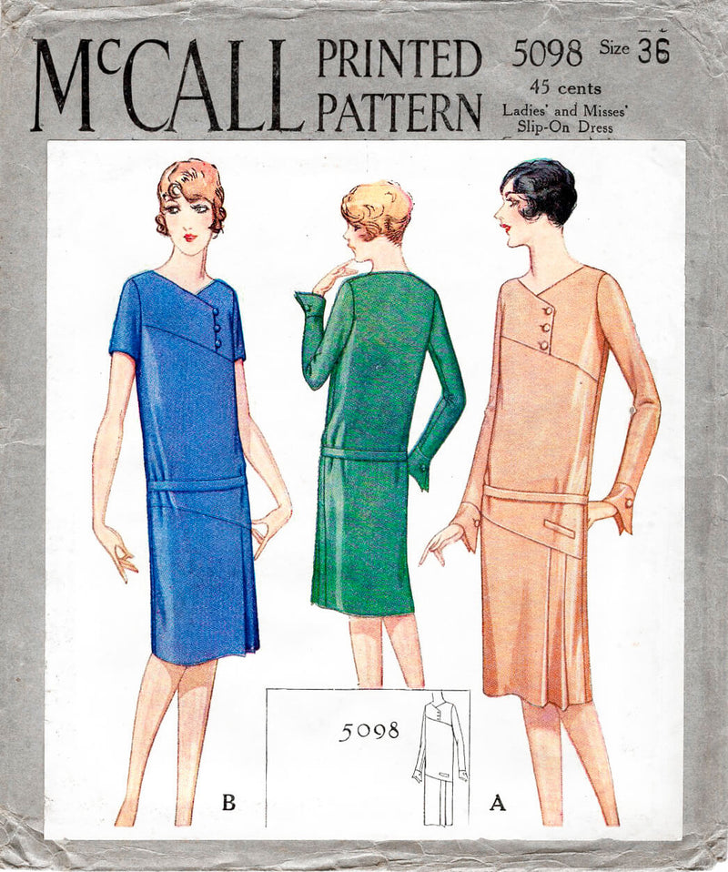 1920s 1927 McCall 5098 drop waist dress art deco seams vintage sewing pattern reproduction