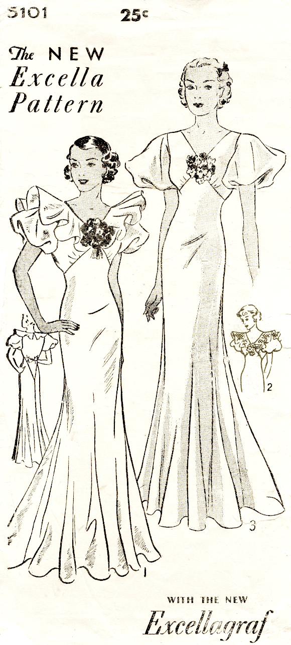 Excella 5101 1930s evening gown flutter sleeves vintage sewing pattern reproduction