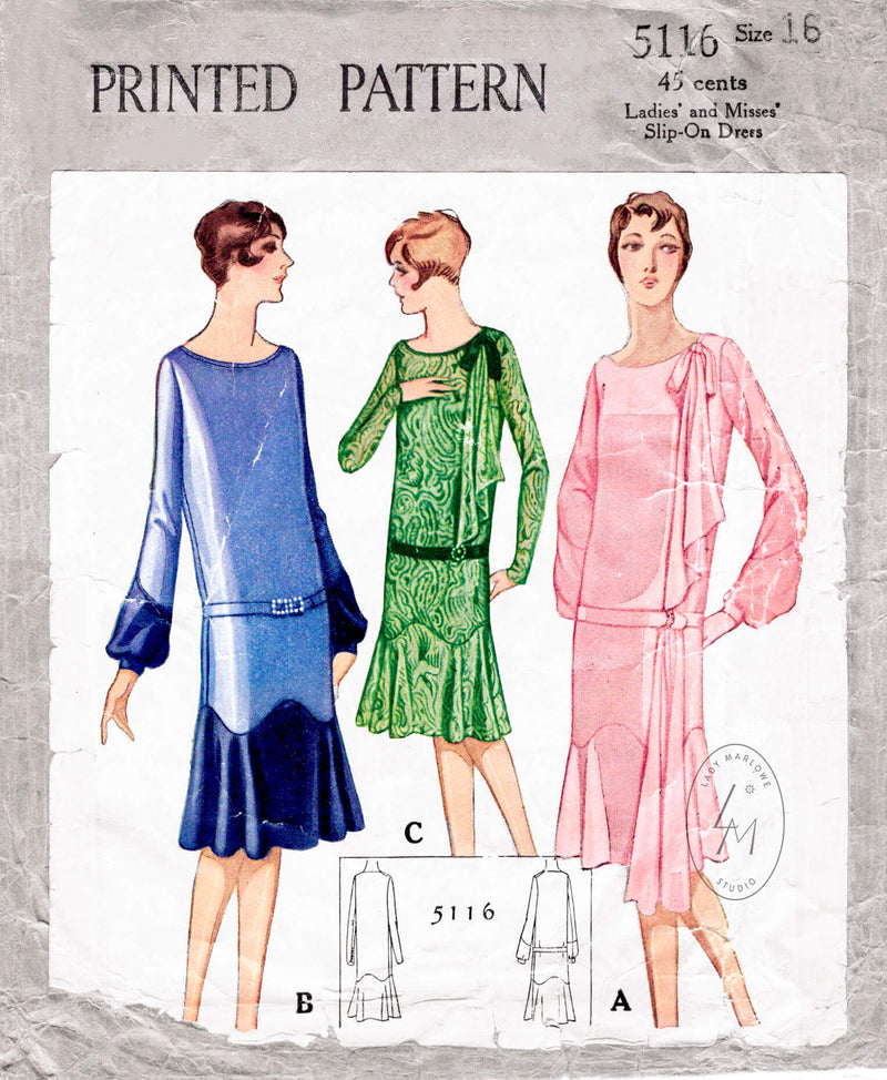 McCall 5116 1920s 1927 flapper dress vintage sewing pattern