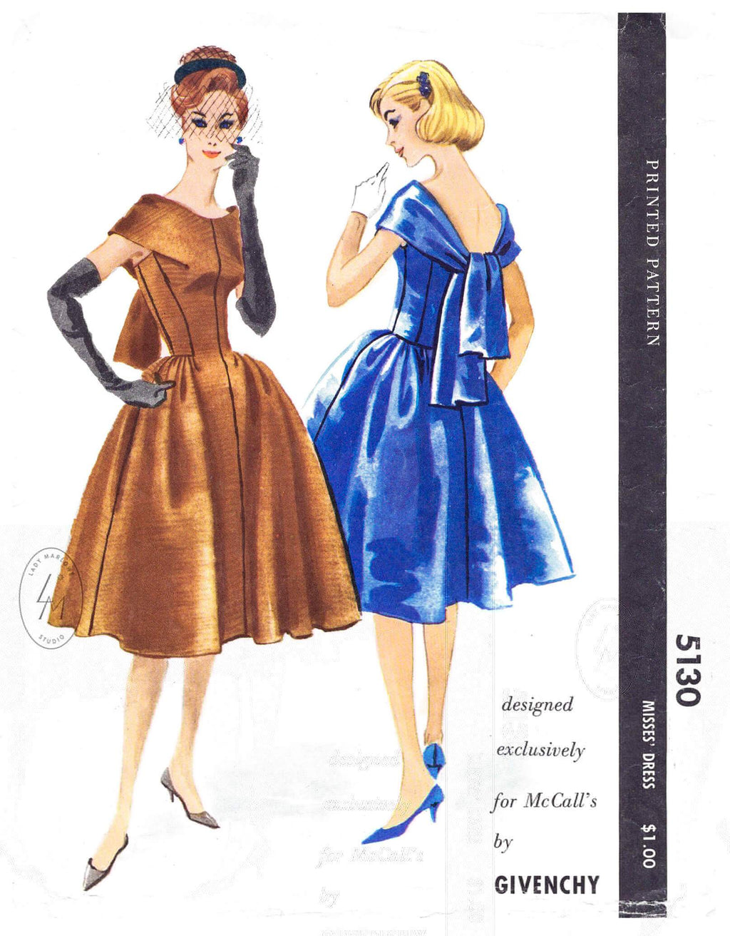 1950s 1959 McCall's 5130 Givenchy designer vintage sewing pattern cocktail dress bouffant skirt scarf neckline reproduction