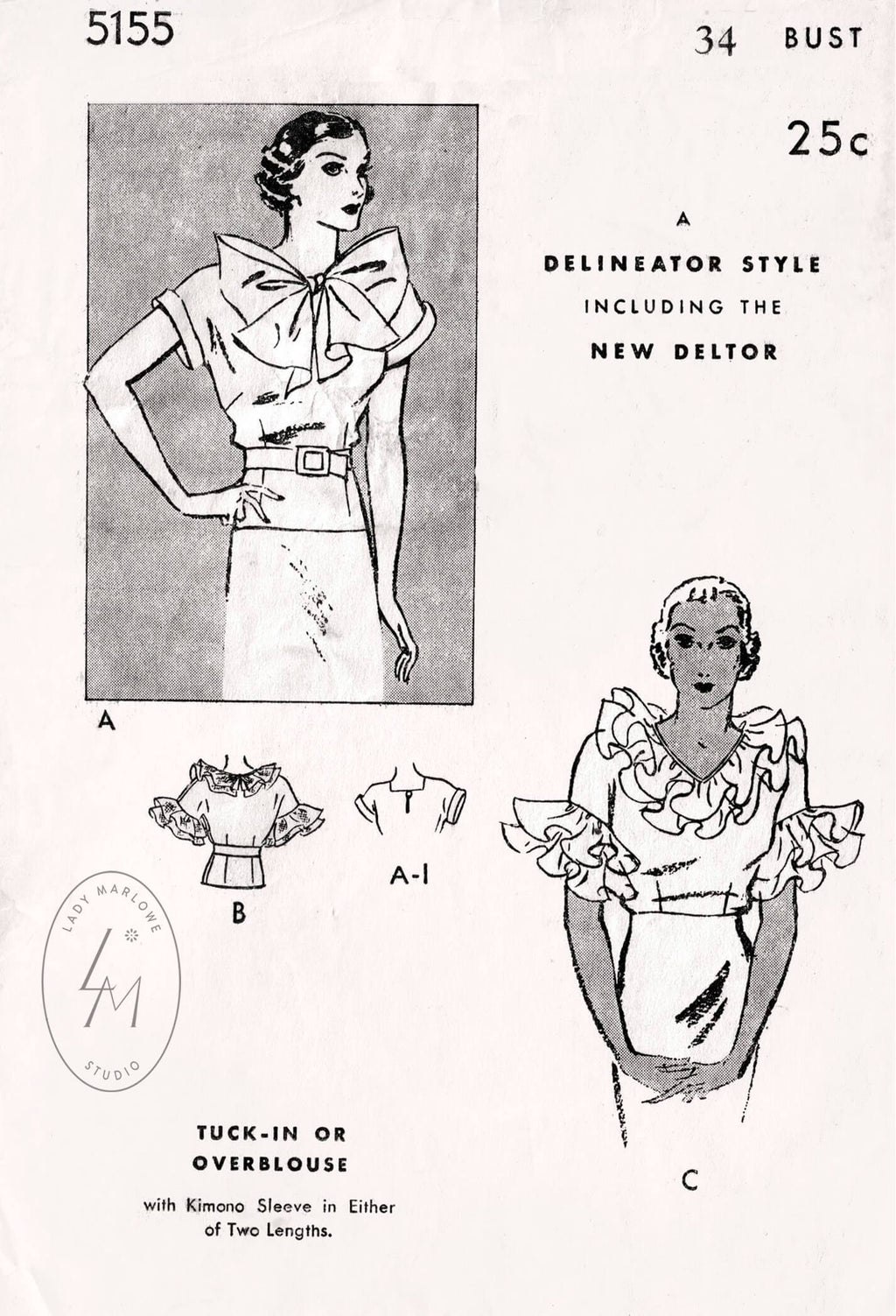 Butterick 5155 1930s ruffle blouse vintage sewing pattern