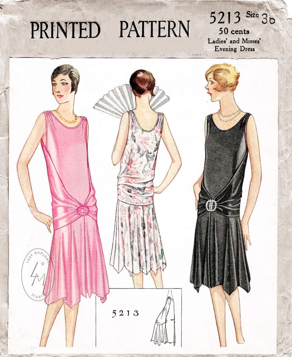 McCall 5213 vintage 1920s 1928 flapper evening gown dress sewing pattern
