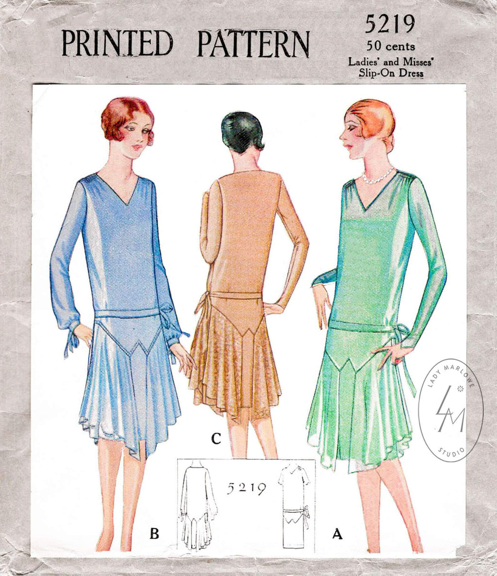 McCall 5219 1920s 1928 flapper party dress evening cocktail vintage sewing pattern reproduction