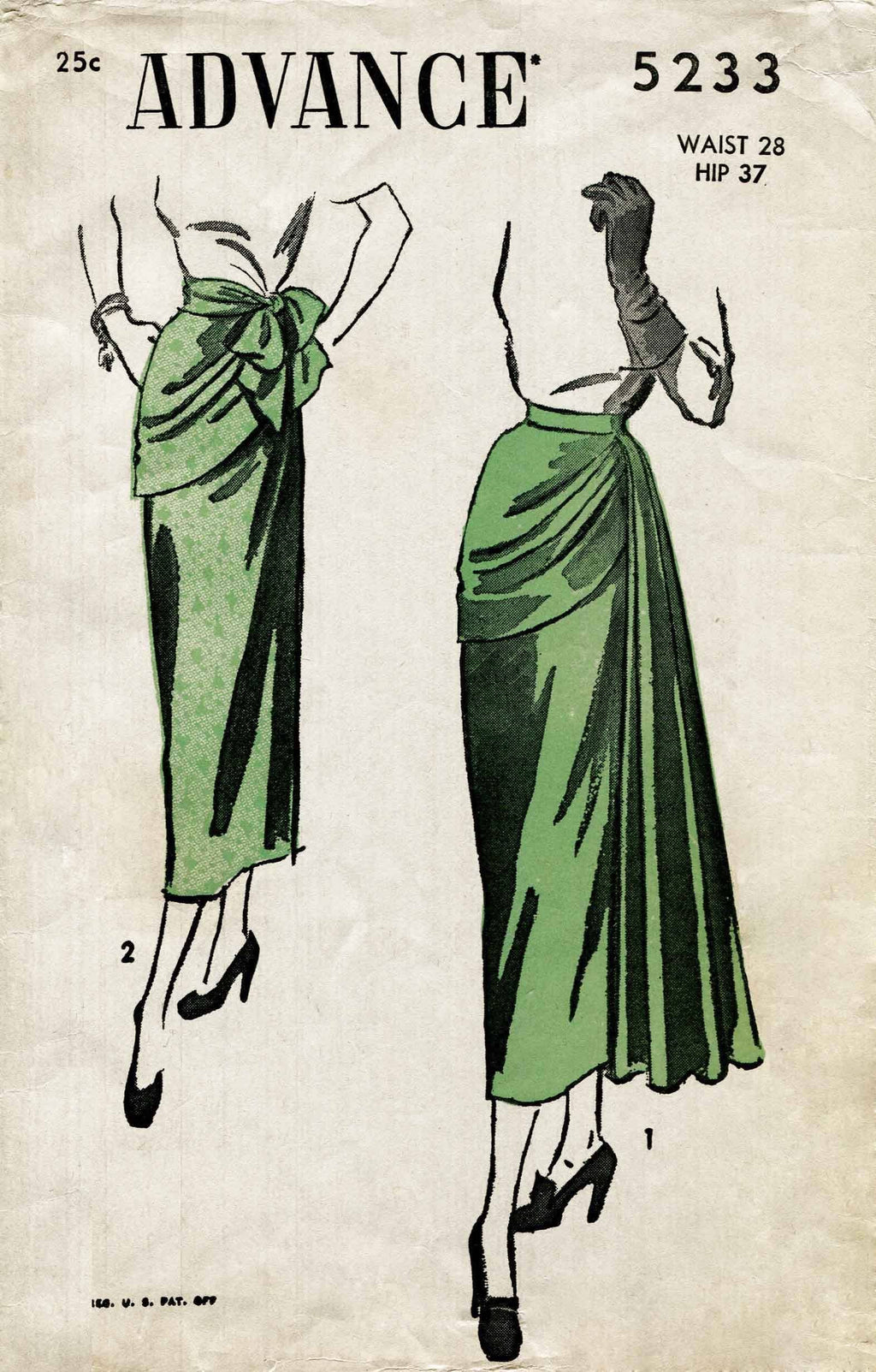 Advance 5233 1940s evening skirt vintage sewing pattern
