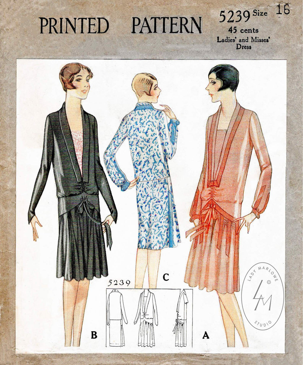 McCall 5239 1920s 1928 drop waist dress vintage sewing pattern repro