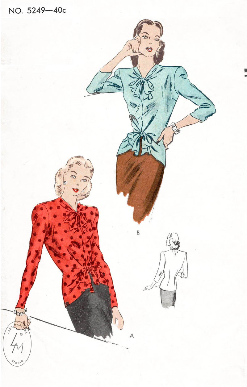 1940s Vogue 5249 1944 day or evening blouse with draped bow detail vintage sewing pattern repro