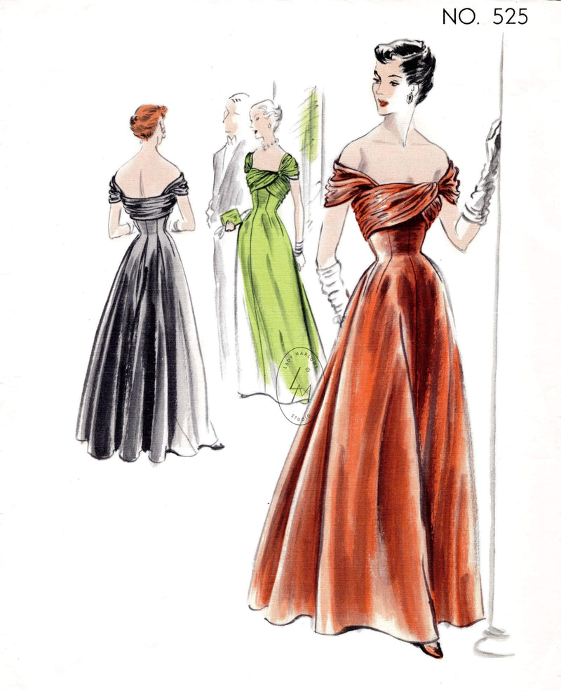 1940s 1950s evening dress ball gown Vogue Couturier 525 bardot neckline grecian drape full skirt vintage sewing pattern reproduction