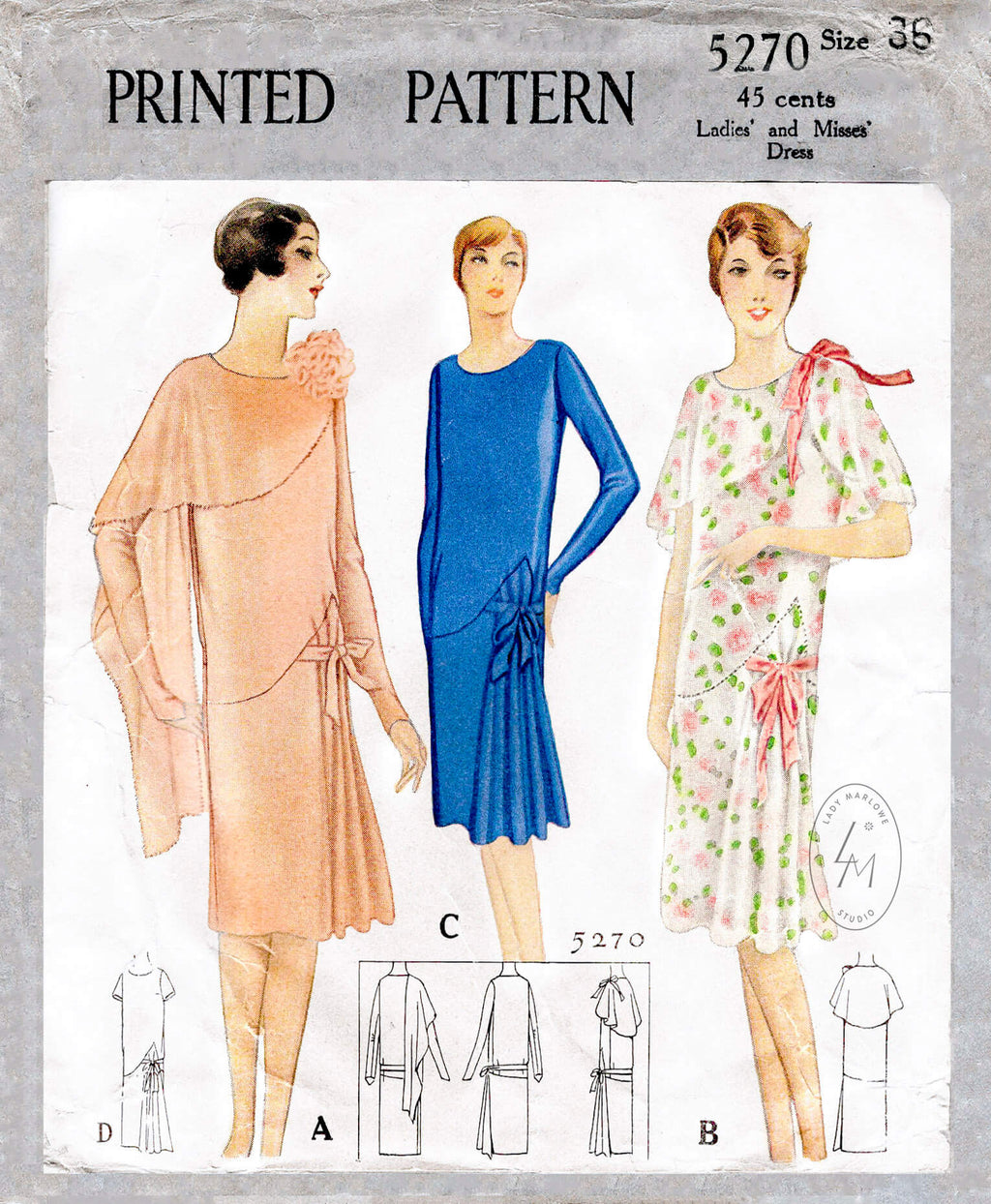 McCall 5270 1920s vintage sewing pattern flapper dress draped collar
