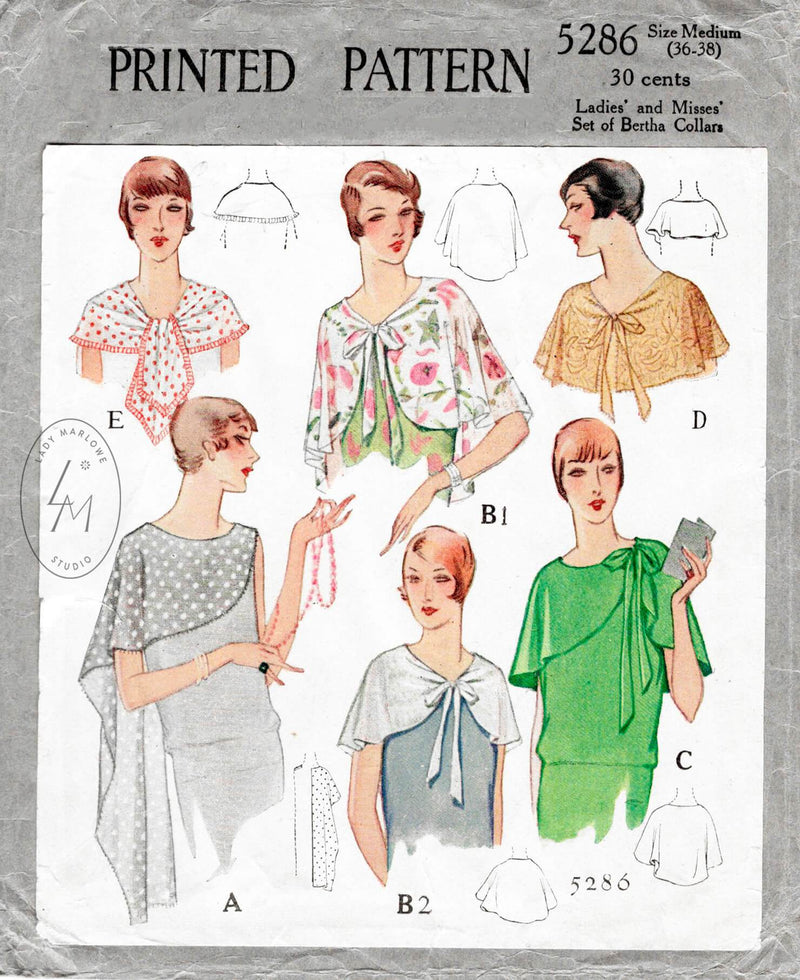 1920s 1928 McCall 5286 set of accessories shawl capelet collars vintage sewing pattern reproduction