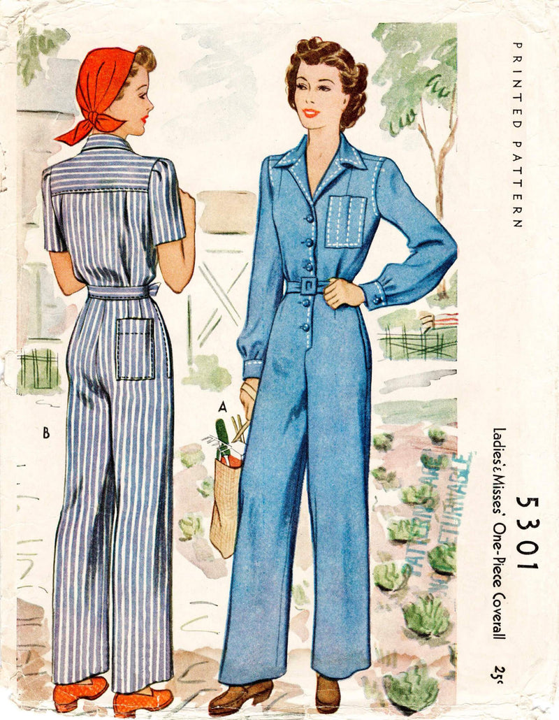 McCall 5301 1940s coveralls vintage sewing pattern Rosie the Riveter