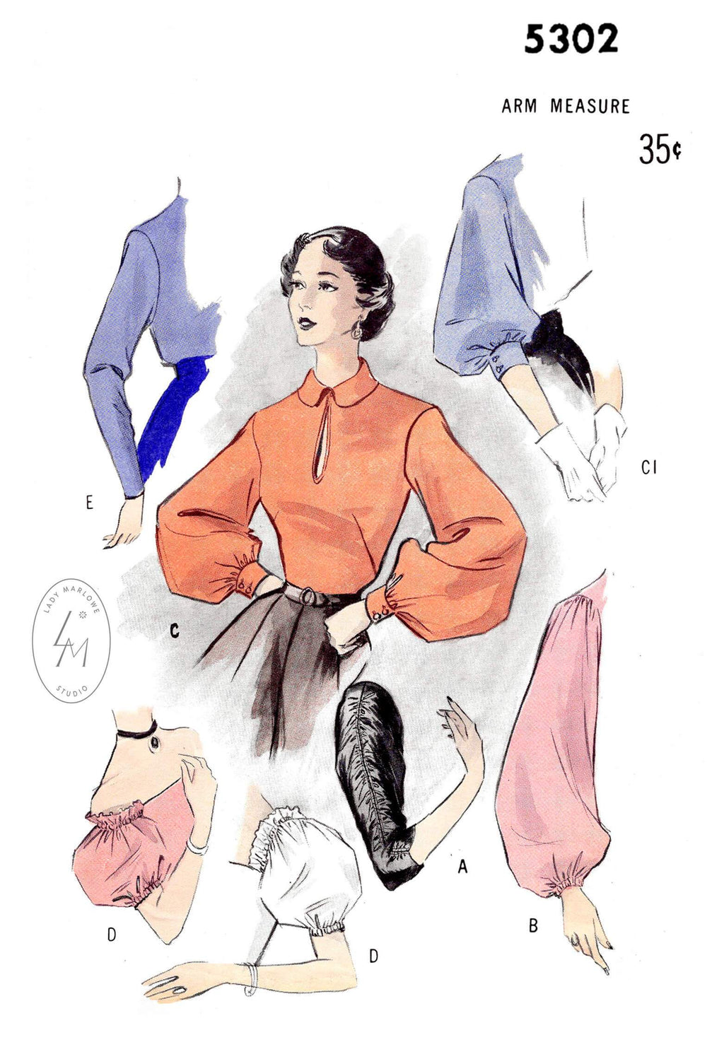 1950s 50s set of sleeves in 6 styles vintage sewing pattern reproduction bishop sleeve off shoulder puff sleeve ruching detail Butterick 5302