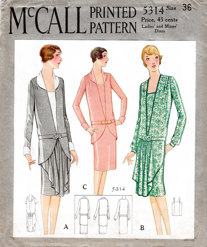 McCall 5314 1920s 1930s drop waist dress deep v neckline camisole layer vintage sewing pattern reproduction