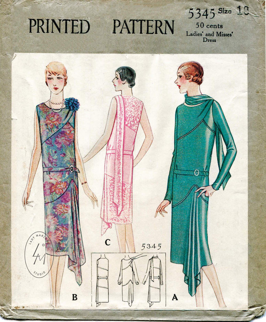 McCall 5345 1920s vintage sewing pattern 1920 20s dress evening wrap