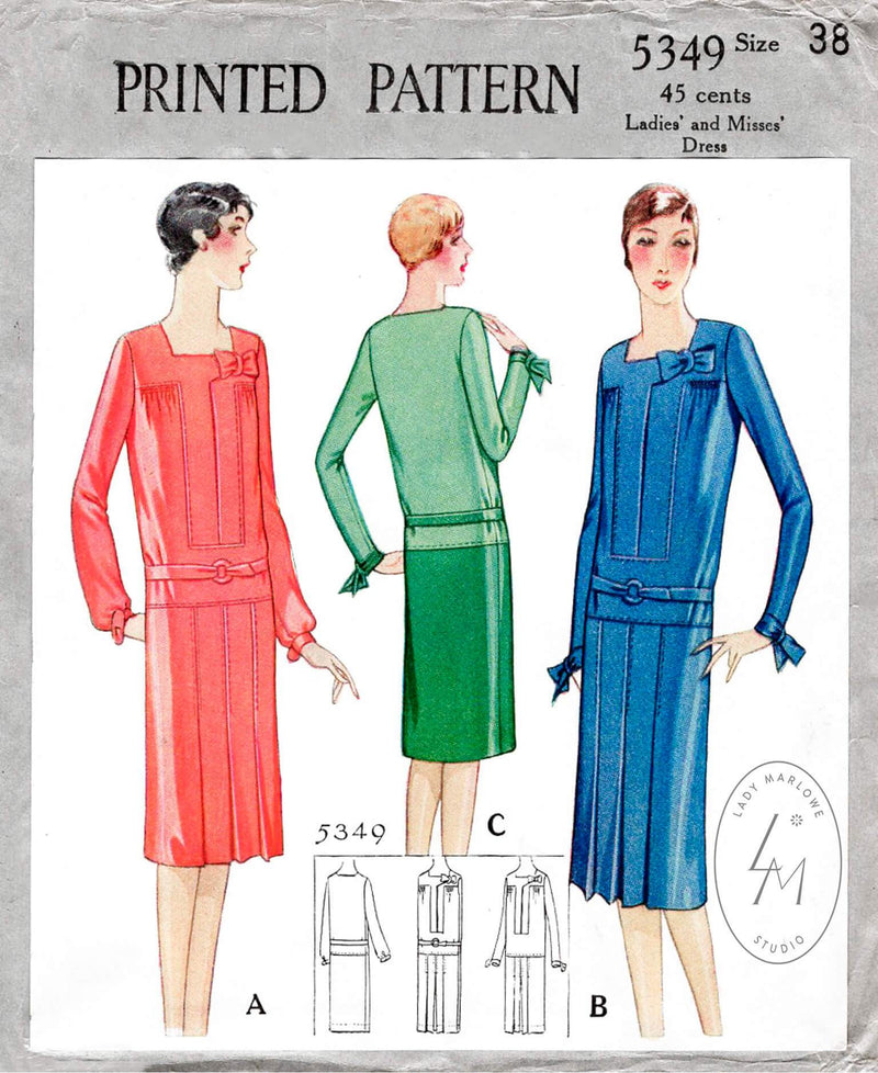 1920s 1928 McCall 5349 art deco dress flapper era pleated skirt decorative bow vintage sewing pattern reproduction