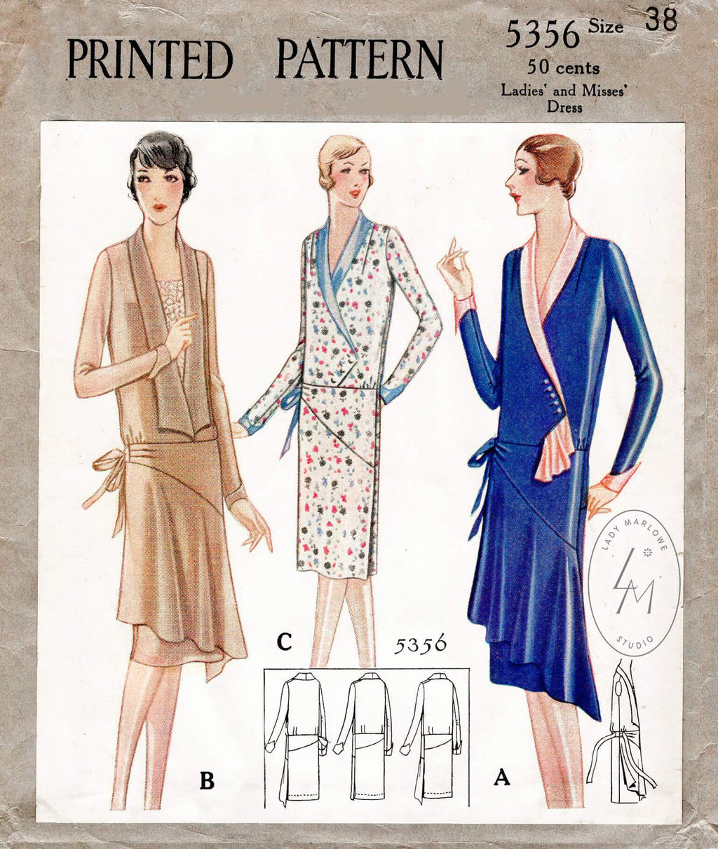 vintage sewing pattern 1920s 20s historic dress reproduction McCall 5356