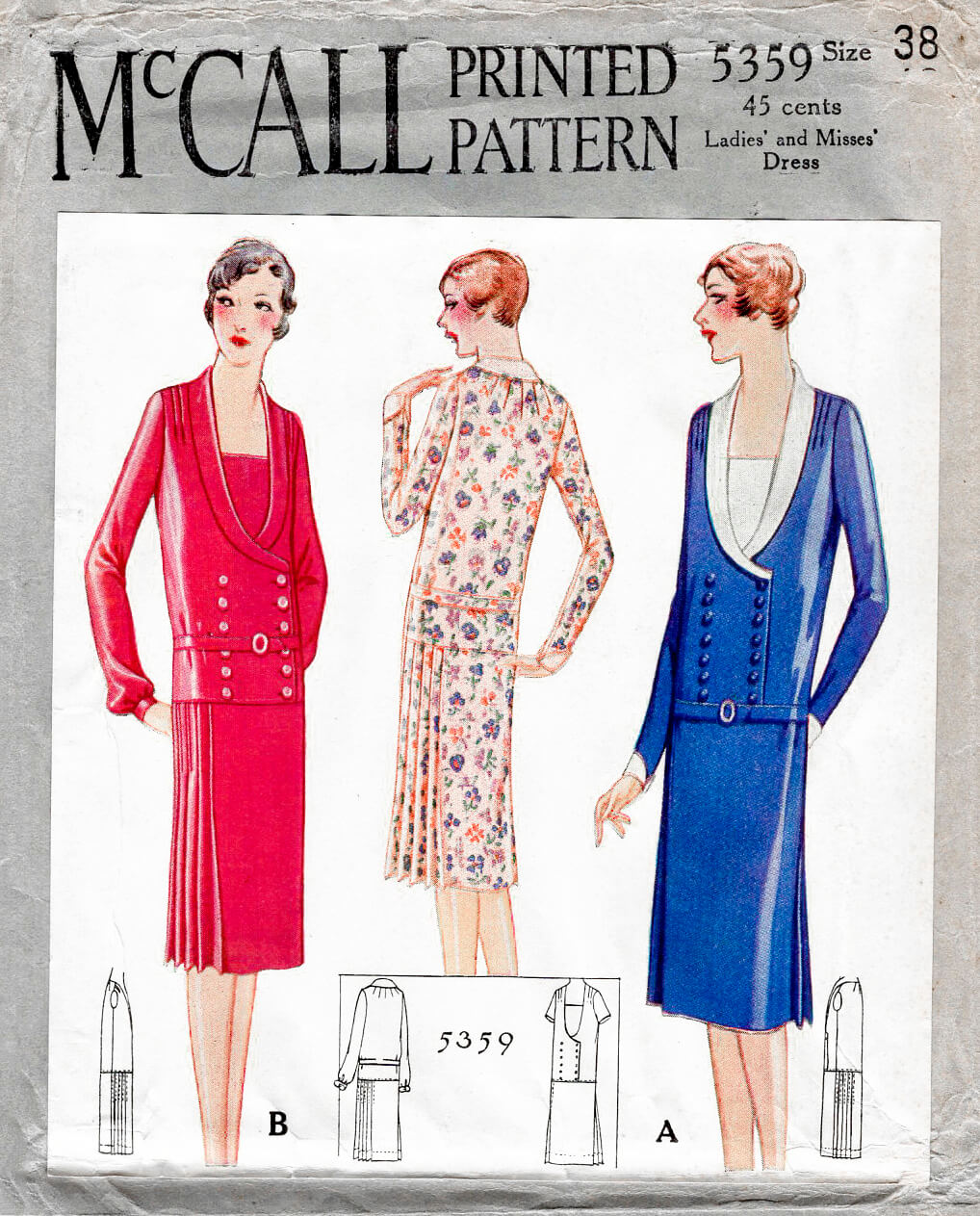 1920s 1927 McCall 5359 flapper era drop waist dress double breasted bodice shawl collar vintage sewing pattern reproduction