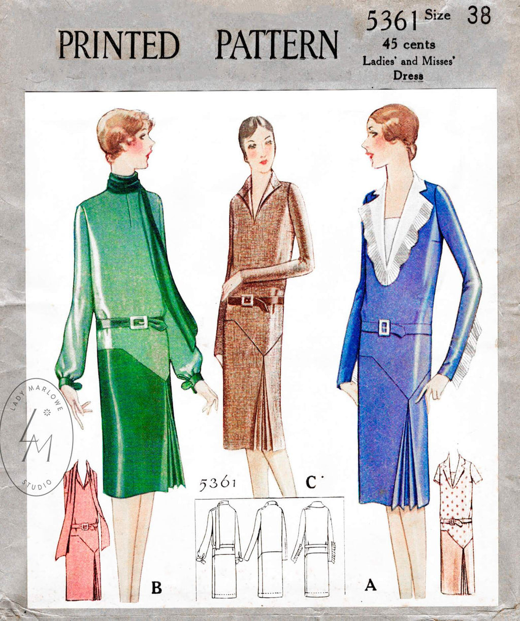 McCall 5361 1920s 1928 scarf collar art deco vintage dress sewing pattern reproduction