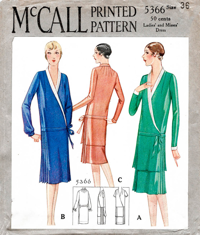 1920s 1928 McCall 5366 wrap dress shawl collar drop waist knife pleats vintage sewing pattern reproduction