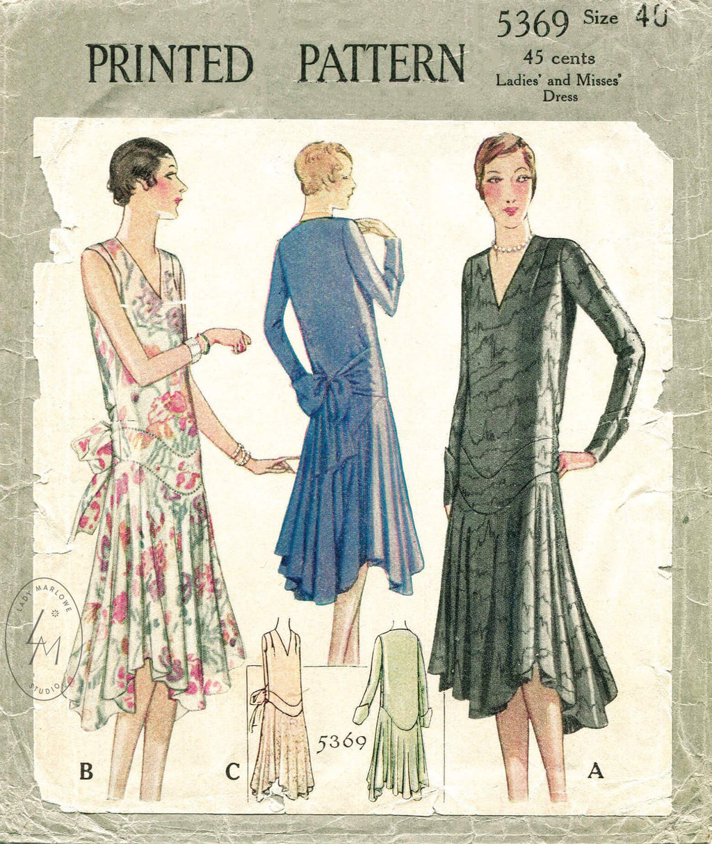 McCall 5369 1920s vintage sewing pattern 1920 1930s evening dress