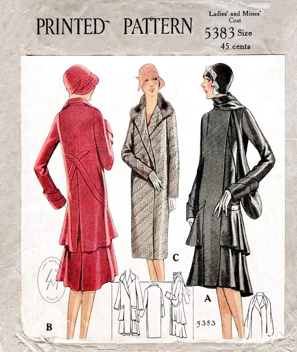 1920s 1928 McCall 5383 flapper coat in 3 styles scarf collar tiered skirt vintage sewing pattern repro