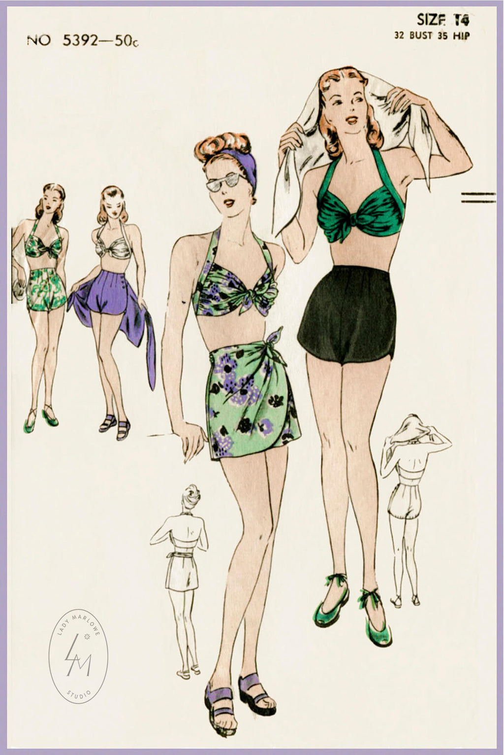 Vogue 5392 1940s sarong skirt bikini swimsuit vintage sewing pattern